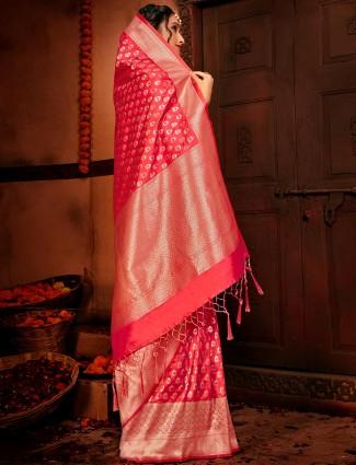 Royal pink banarasi silk wedding wear saree