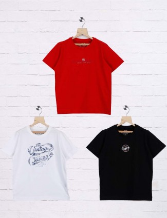 Ruff black,white and red slim fit pack of 3 t-shirt