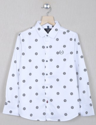 Ruff brand printed white shirt for boys in cotton