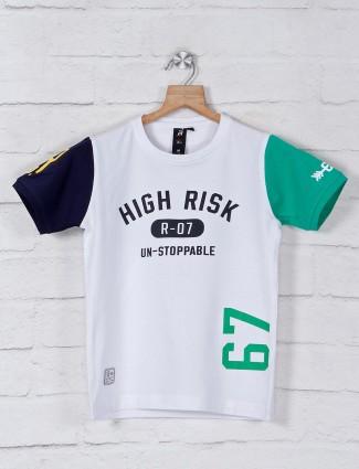 Ruff casual white printed t-shirt