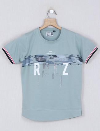Ruff cotton green printed t-shirt