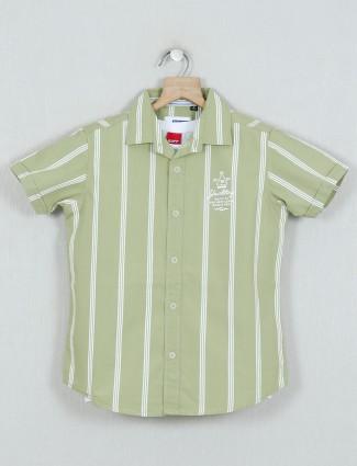Ruff green stripe slim fit boys shirt