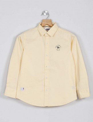 Ruff half sleeves lemon yellow printed shirt