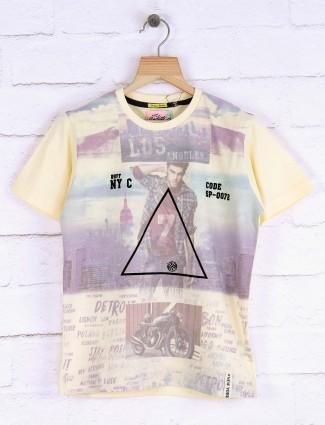 Ruff lemon yellow printed t-shirt
