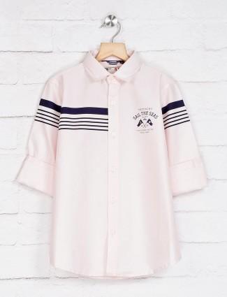Ruff light pink printed stripe shirt