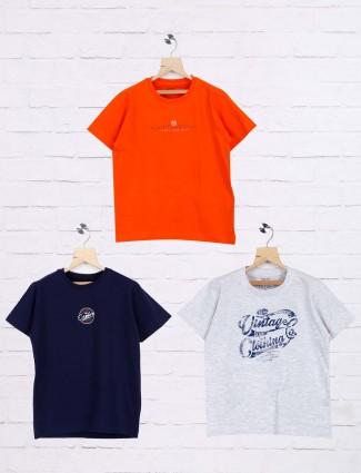 Ruff navy,grey,orange printed casual pack of 3 t-shirt