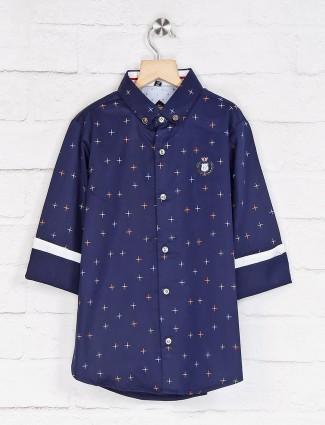 Ruff navy printed buttoned down shirt
