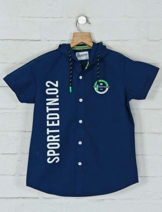 Ruff navy printed cotton casual shirt