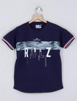 Ruff printed navy round neck t-shirt