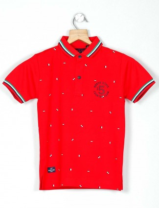 Ruff printed red casual wear polo t-shirt