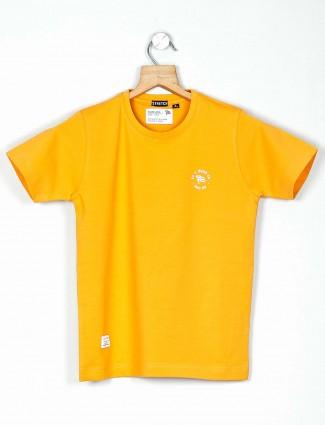 Ruff printed yellow round neck t-shirt