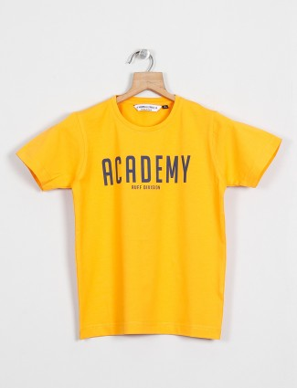 Ruff printed yellow t-shirt for boys in yellow hue