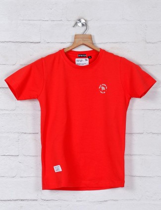 Ruff solid red solid slim fit t-shirt