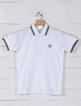 Ruff solid white casual wear t-shirt