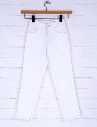 Ruff white colored solid denim