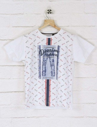 Ruff white printed casual t-shirt