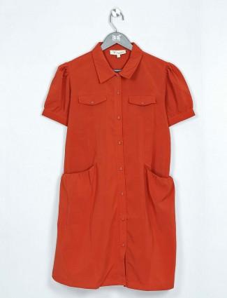 Rust orange georgette casual top