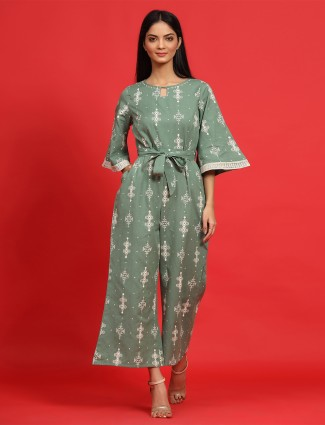 Sage green tint printed festive wear cotton jumpsuit