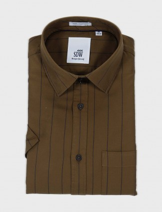 SDW olive hue striped pattern shirt