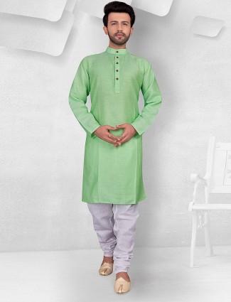 Sea green color solid festive kurta suit