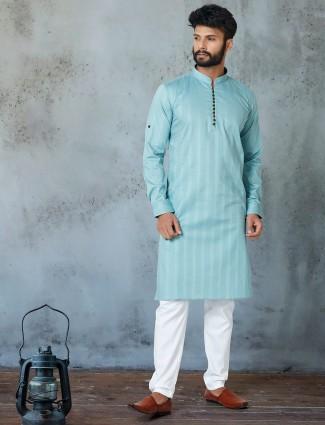 Sea green cotton stripe kurta suit for festive