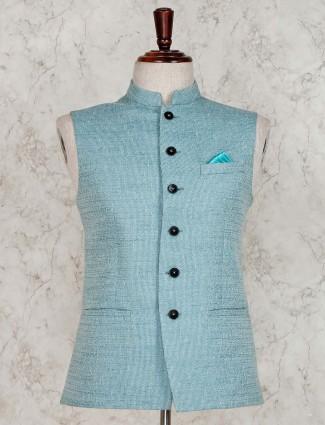 Sea green solid terry rayon waistcoat