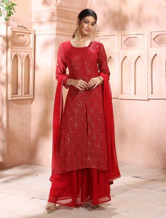 Seductive red georgette punjabi style festive wear palazzo suit