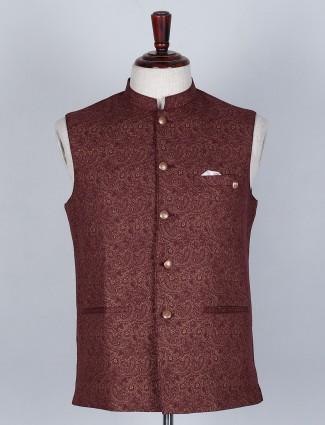 Self textured maroon colored silk waistcoat