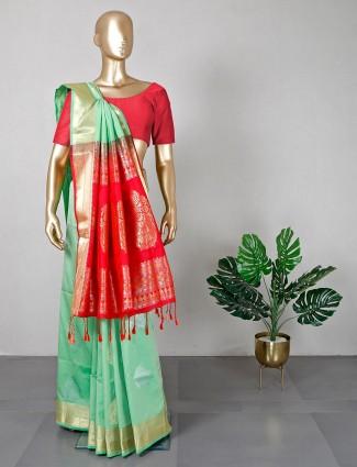 Semi silk green wedding saree