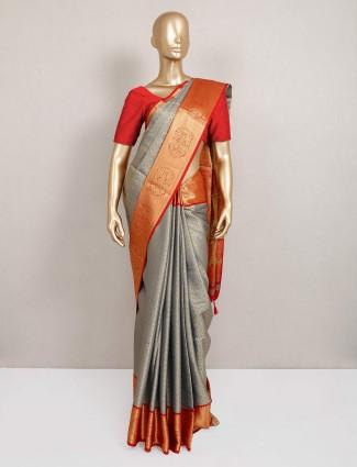 Semi silk grey saree for festival