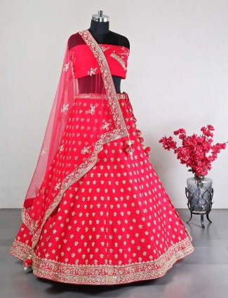 Semi stitched wedding wear magenta raw silk lehenga choli