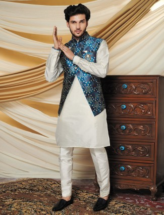 Silk blue and cream waistcoat set