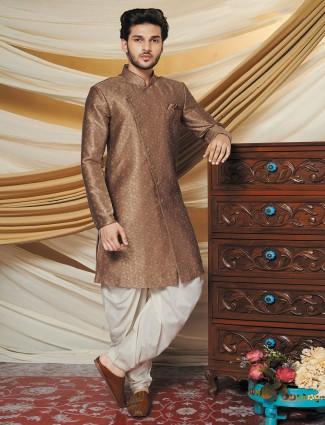 Silk brown mens indo western for wedding