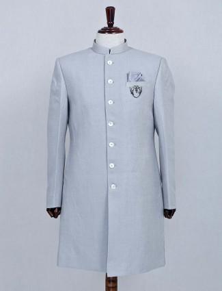 Silk fabric grey wedding sherwani