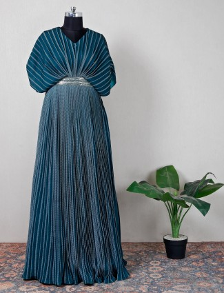 Silk green gown for partywear