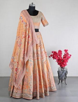 Silk orange wedding lehnga choli