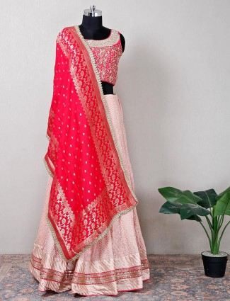 Silk pink designer lehenga choli for wedding