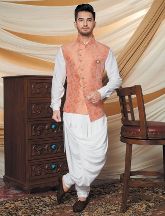 Silk waistcoat and churidar set in white and peach for party