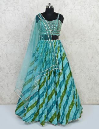 Silk wedding special blue lehenga choli