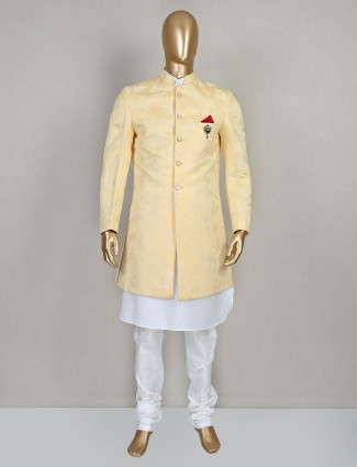 Silk yellow indo western for men