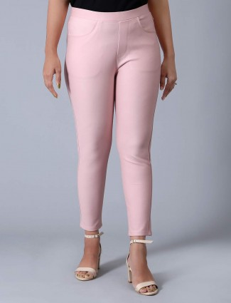 Skinny fit jeggings in pink cotton