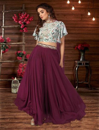 Sky and purple designer georgette palazzo suit for wedding events