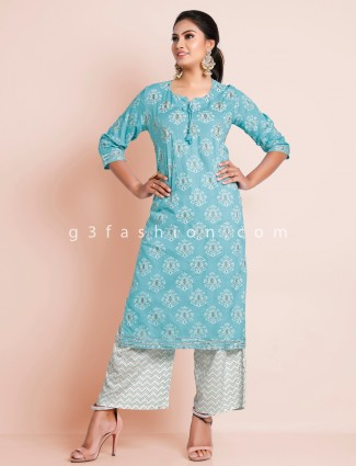 Sky blue cotton palazzo style suit for festive