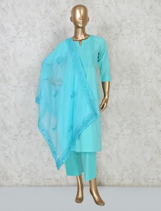 Sky blue cotton punjabi pant suit design