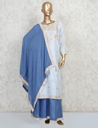 Sky blue cotton silk festive wear dress