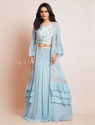 Sky blue georgette salwar kameez for party