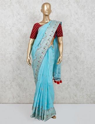 Sky blue muga silk festive wear saree