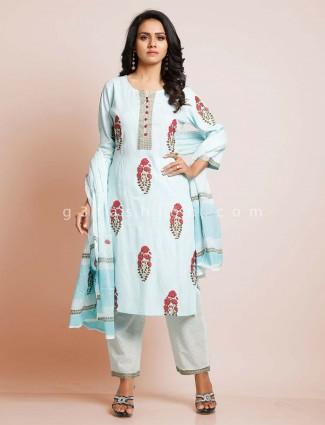 Sky blue kurti set punjabi salwar suit in cotton