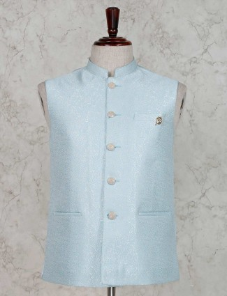 Sky blue terry rayon waistcoat for mens