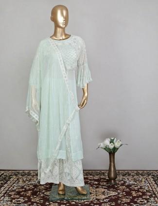 Sky blue wedding ceremonies georgette palazzo suit for women